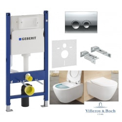 Комплект Унітаз підвісний Villeroy & Boch SUBWAY 2.0 Direct Flush з кришкою soft-close Sleem Seat+GEBERIT 4-в-1 (458.121.21.1.N+5614R201)
