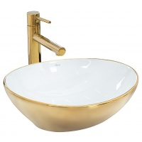 Раковина керамічна на стільницю Rea Sofia Gold / White (8288155681)